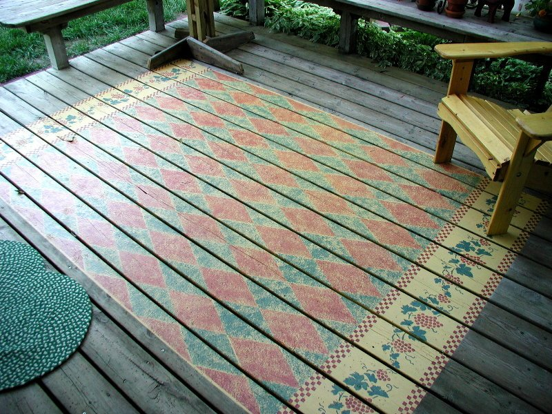 Rug Stenciled On An Outdoor Deck Walltowallstencils Com