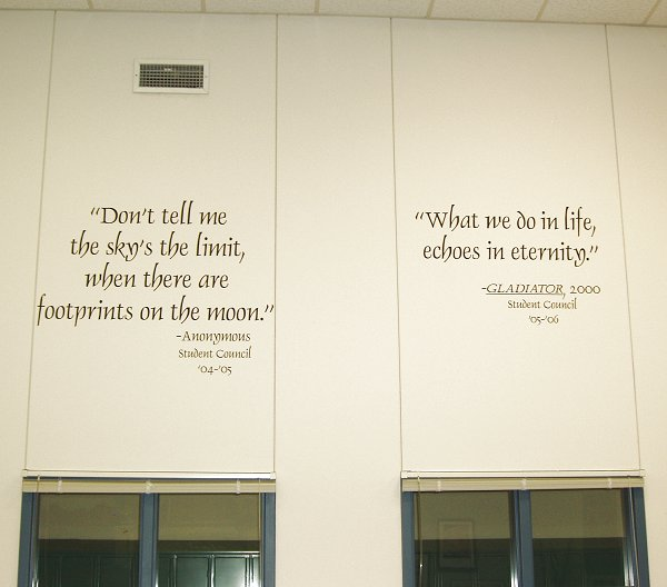 Student council quotes. School gymnasium. Dauphin font