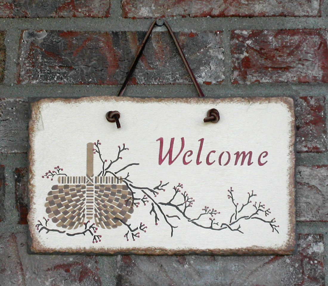 Welcome Slate stenciling project