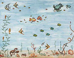 Under The Sea Mural Stencils Wall To Products
